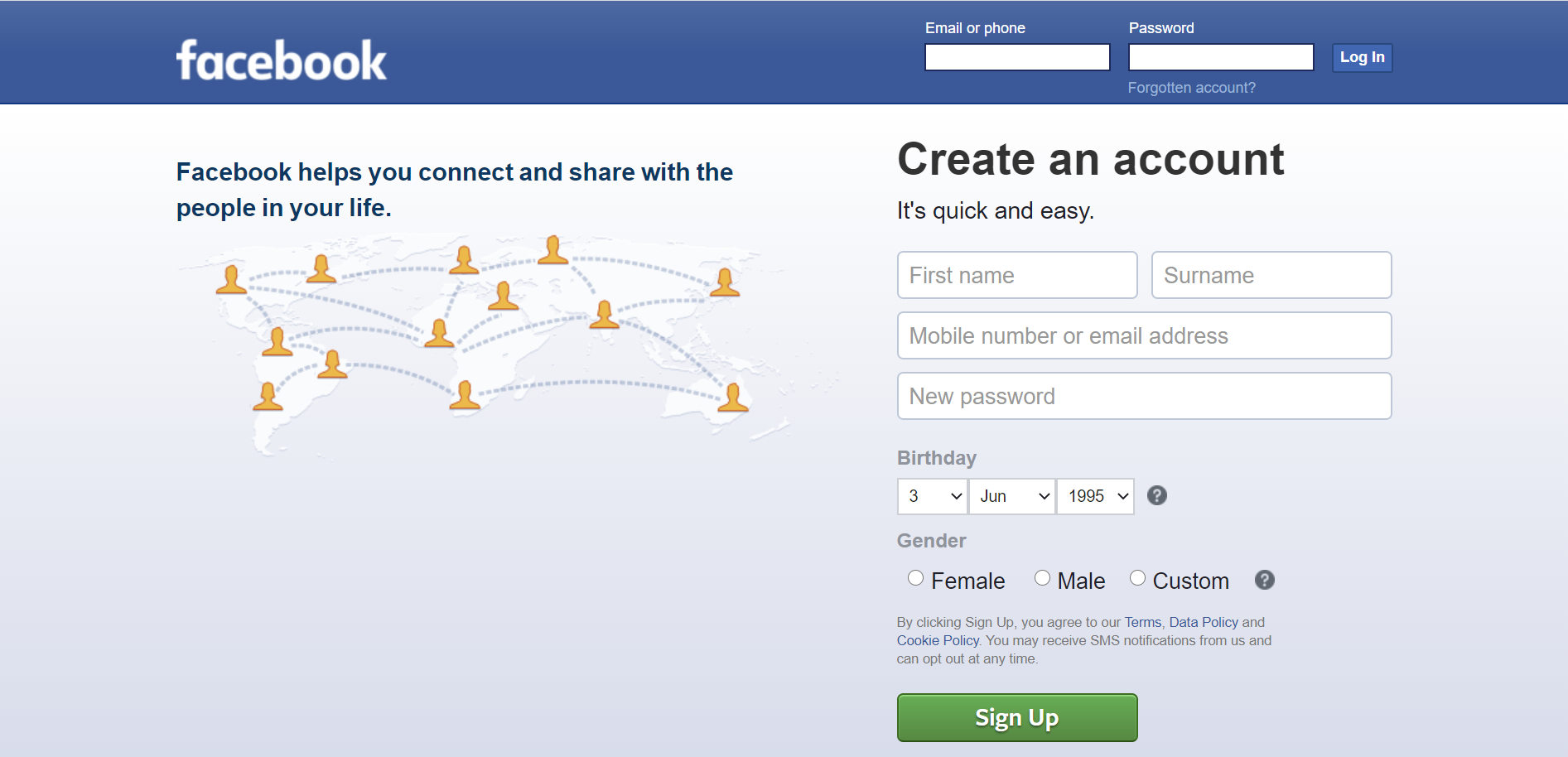 Facebook Style login page in HTML and CSS - CoderGlass